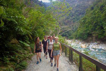 Walking on the Shakadang Trail in Taroko Gorge National Park